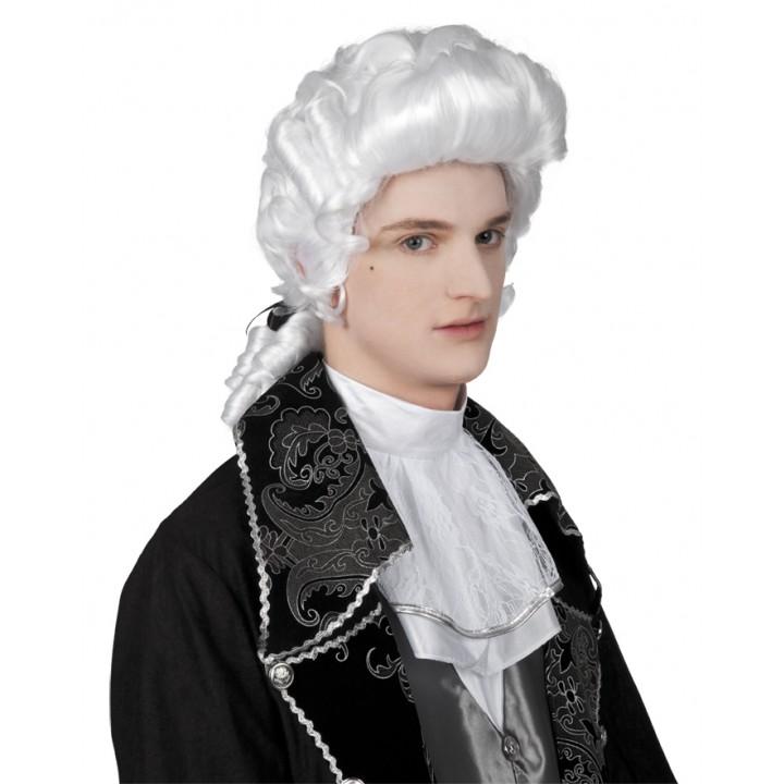 Perruque de marquis pour homme blanche
