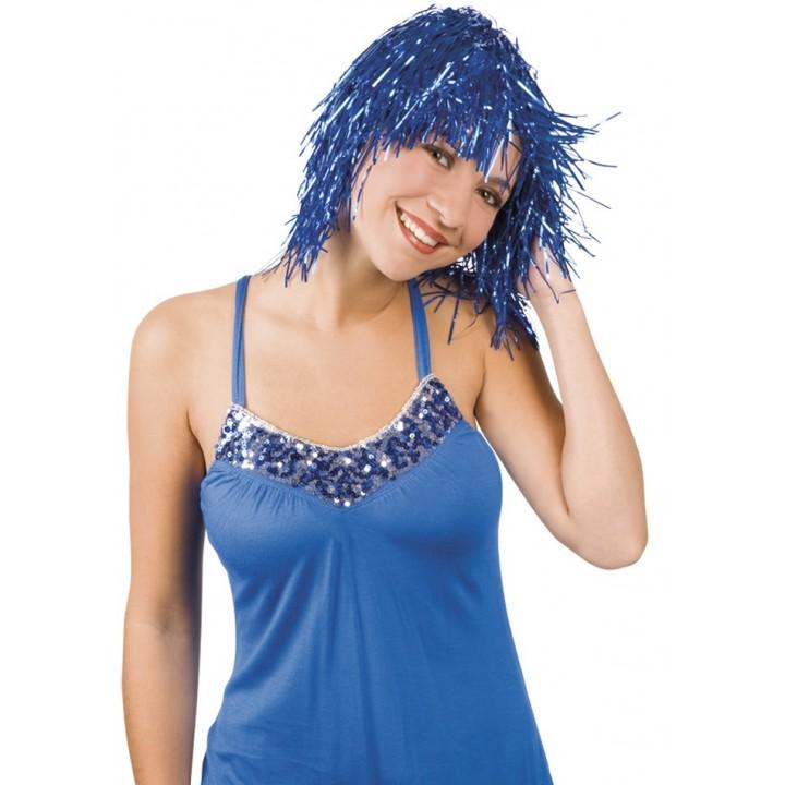Perruque métal bleu