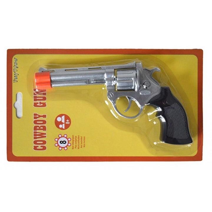 Pistolet de cowboy 8 coups argenté 19 cm