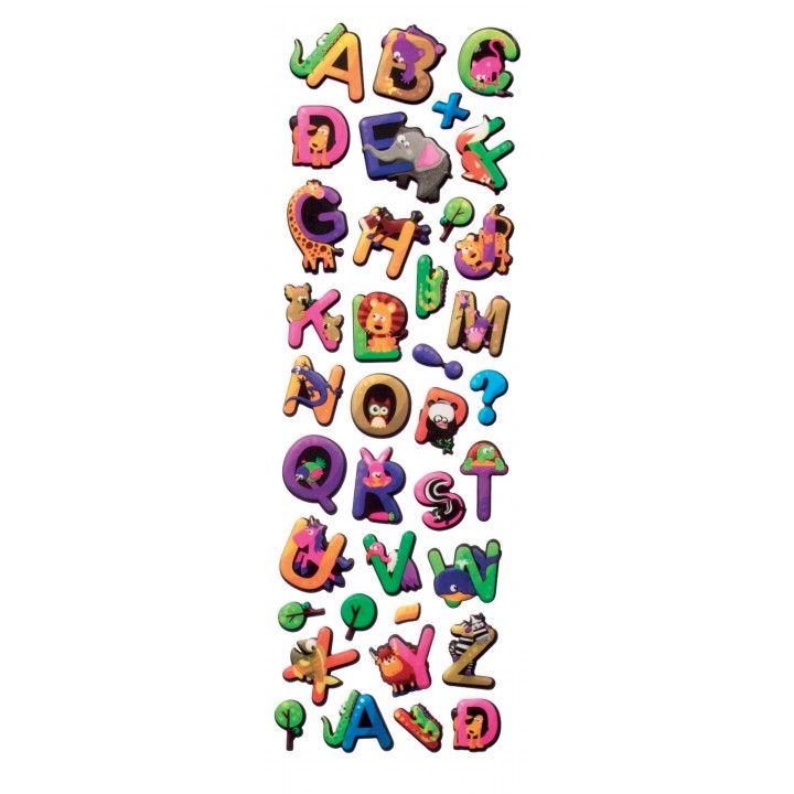 Planche de stickers alphabet Animaux