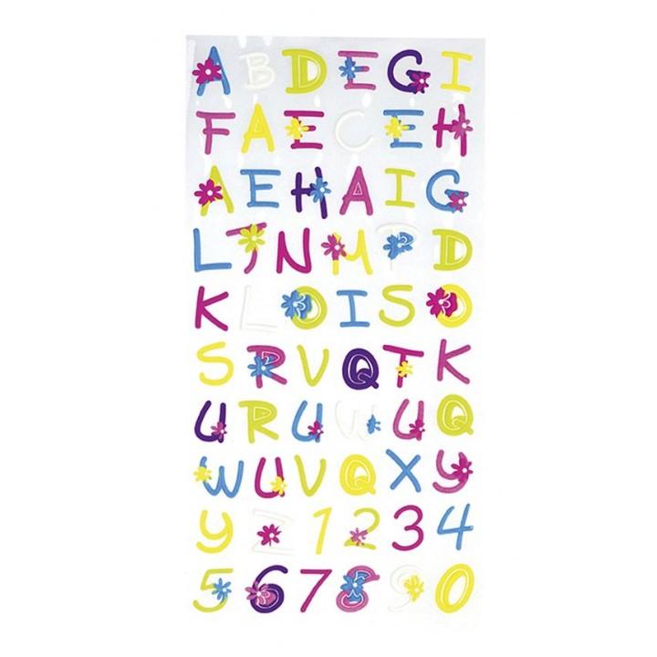 Planche de stickers alphabet Petites fleurs
