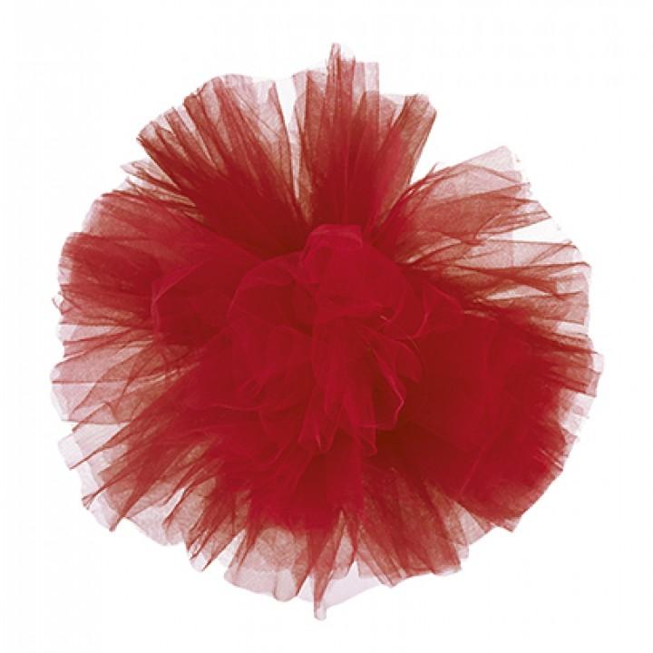 Pompon rouge en tulle 30 cm