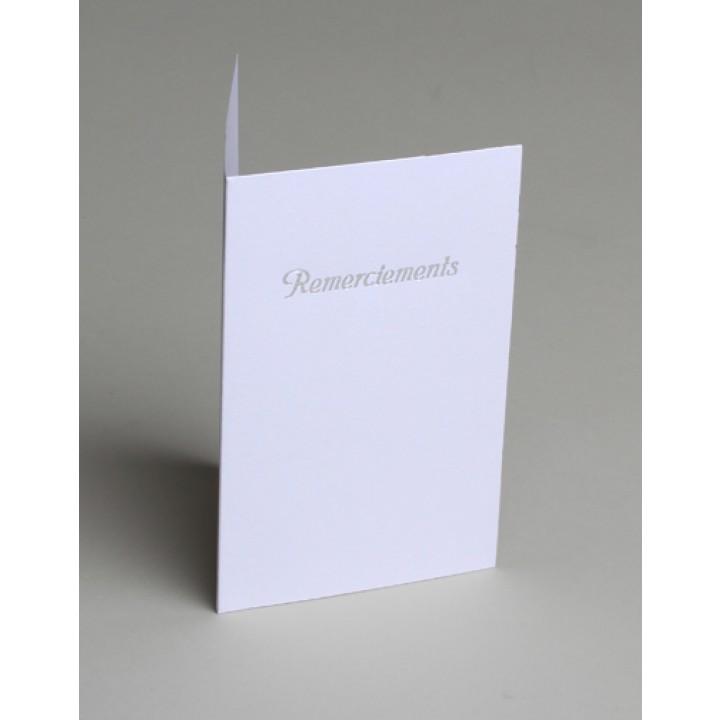 Lot de 10 cartes de remerciements blanches impression argent avec enveloppe