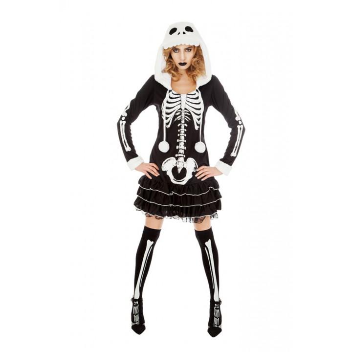 À Capuche Squelette Halloween Robe Femme 2YWHeE9DI