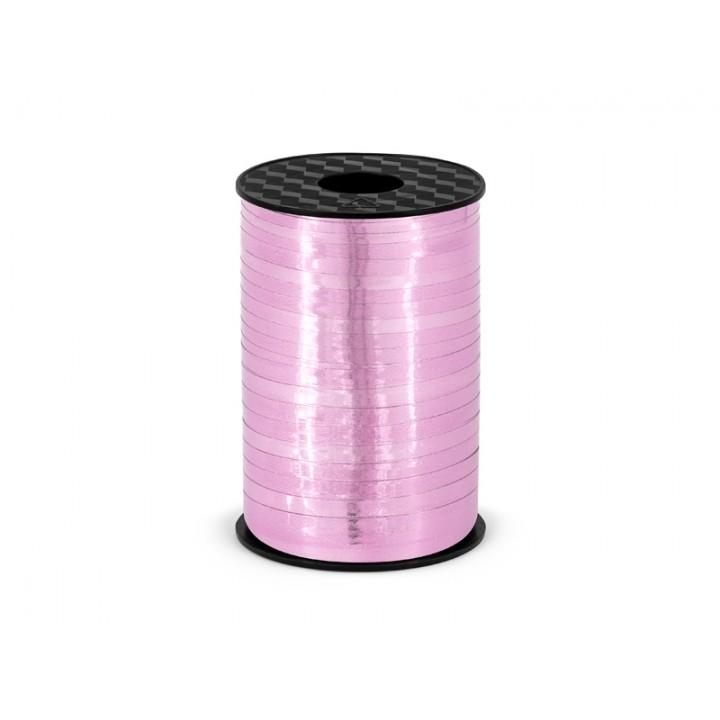 Rouleau de bolduc rose métallisé 225 m x 5 mm