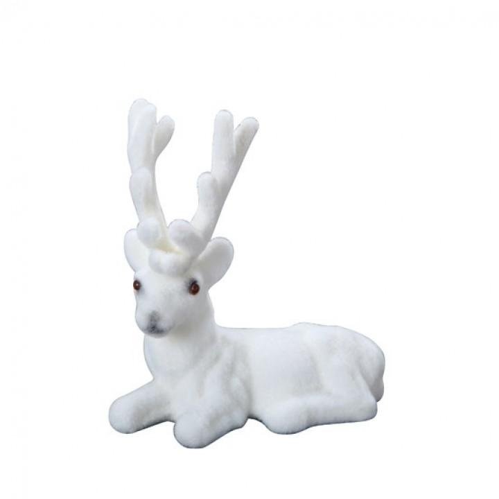 Renne blanc effet velours à suspendre 10 cm