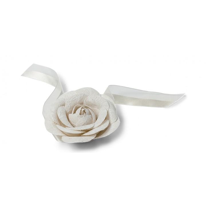 Rose lin dentelle sur ruban 35 cm