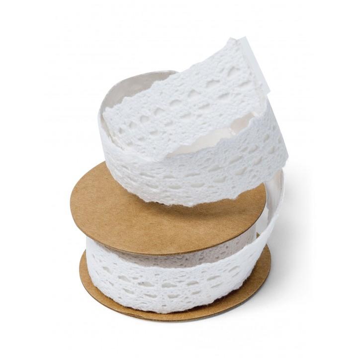 Rouleau de dentelle adhésive blanche 2,5 cm x 2 m