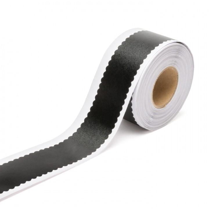Rouleau de Ruban adhésif noir écriture craie bords arrondis 2,5 cm x 9 m