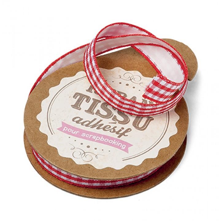 Rouleau de ruban coton vichy rouge adhésif 1 cm x 2m