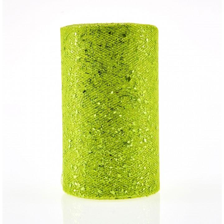 Rouleau de tulle vert pailleté 28 cm x 5 m