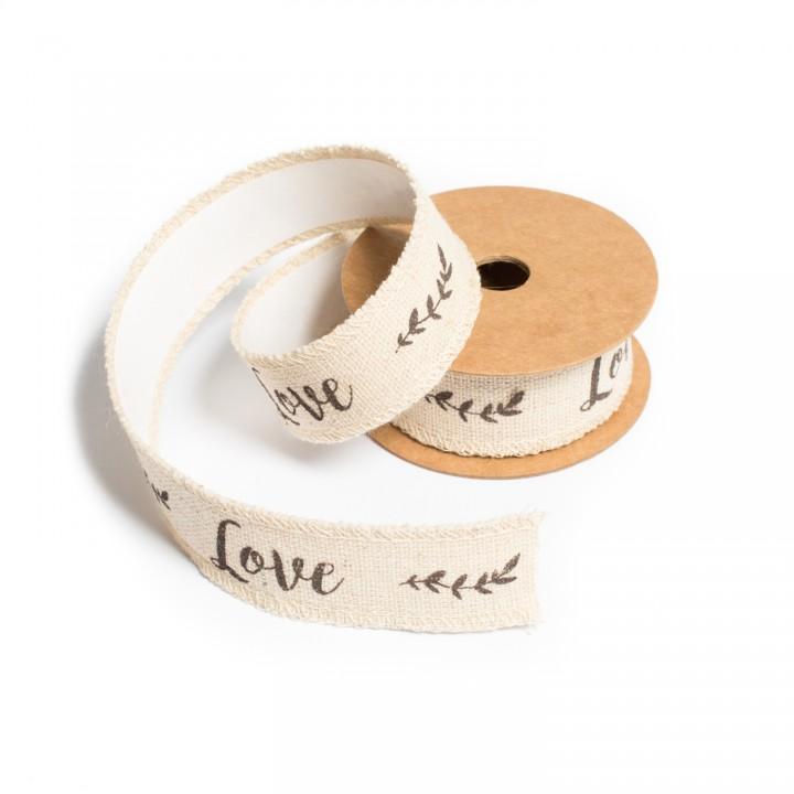 Ruban Love en lin-adhésif 2,5 cm x 2 m