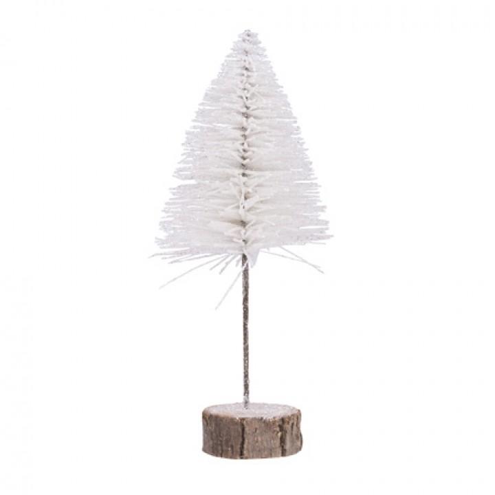 Sapin de Noël Pailleté blanc sur socle bois 15 x 30 cm