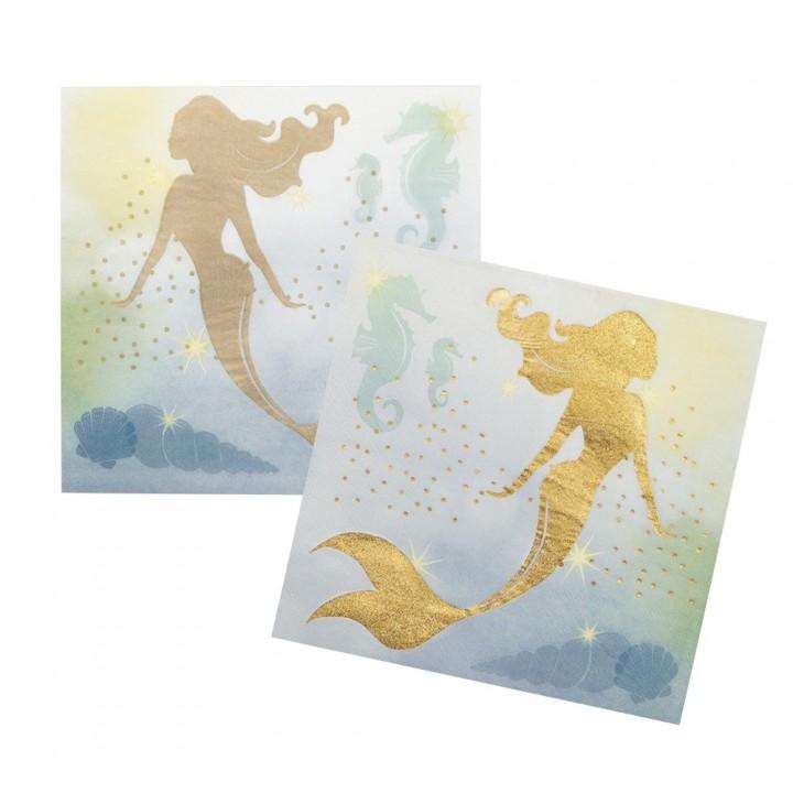 Lot de 12 serviettes en papier Sirène 33 x 33 cm