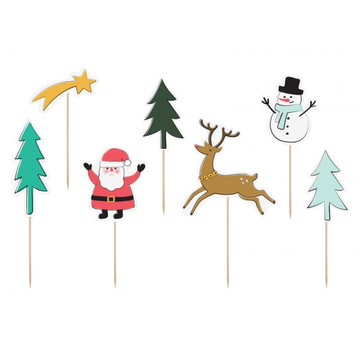 Lot de 7 Sujets Noël sur pic assortis 12,5 x 18,5 cm