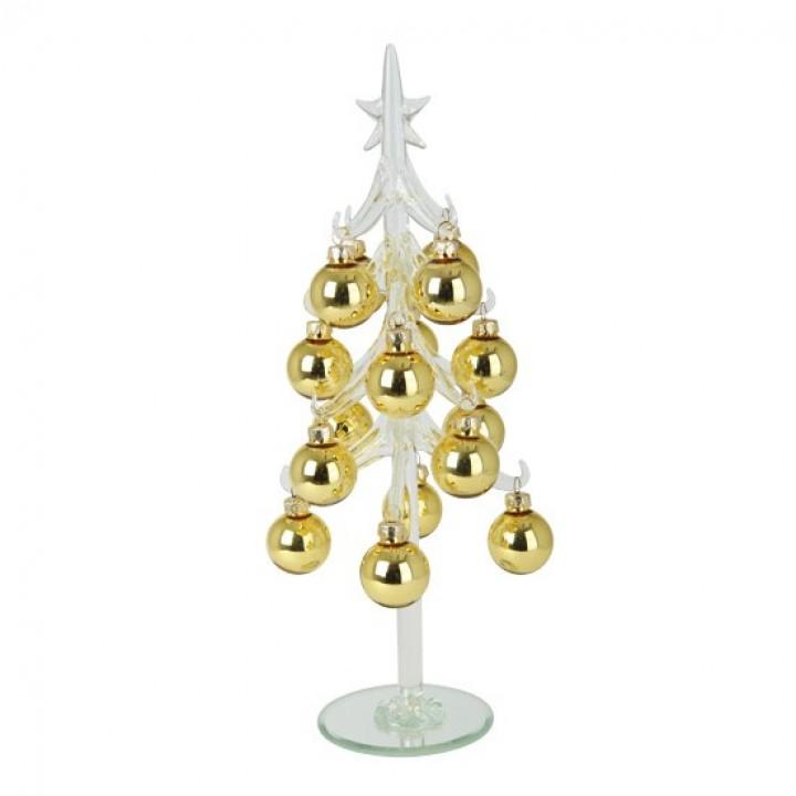 Sapin avec boules en verre or à poser 30 cm