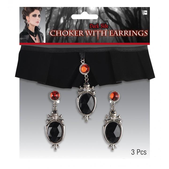 Set Collier et boucles d'oreilles noirs et rouges Halloween