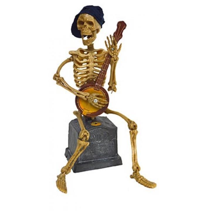 Squelette articulé avec banjo, lumière et bruit Halloween 90 cm
