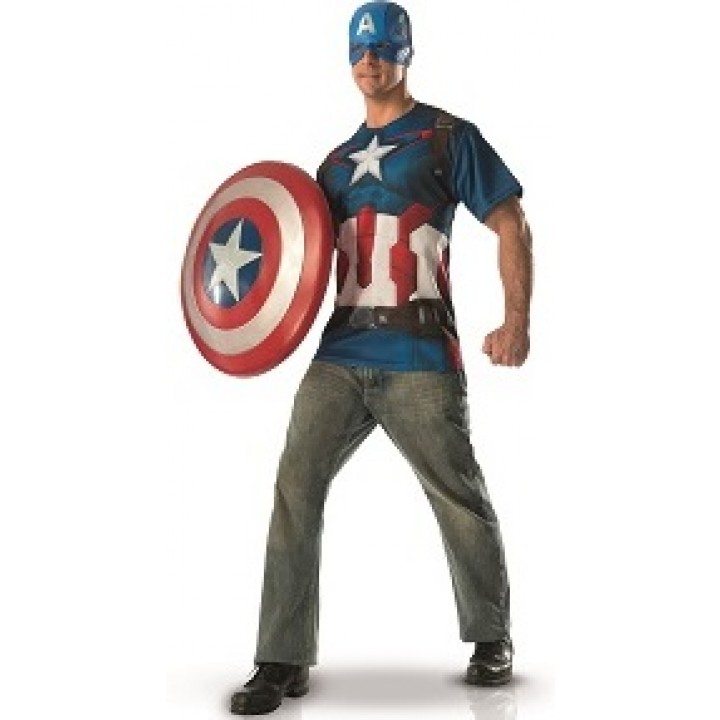 T-shirt+ masque Captain America homme taille L