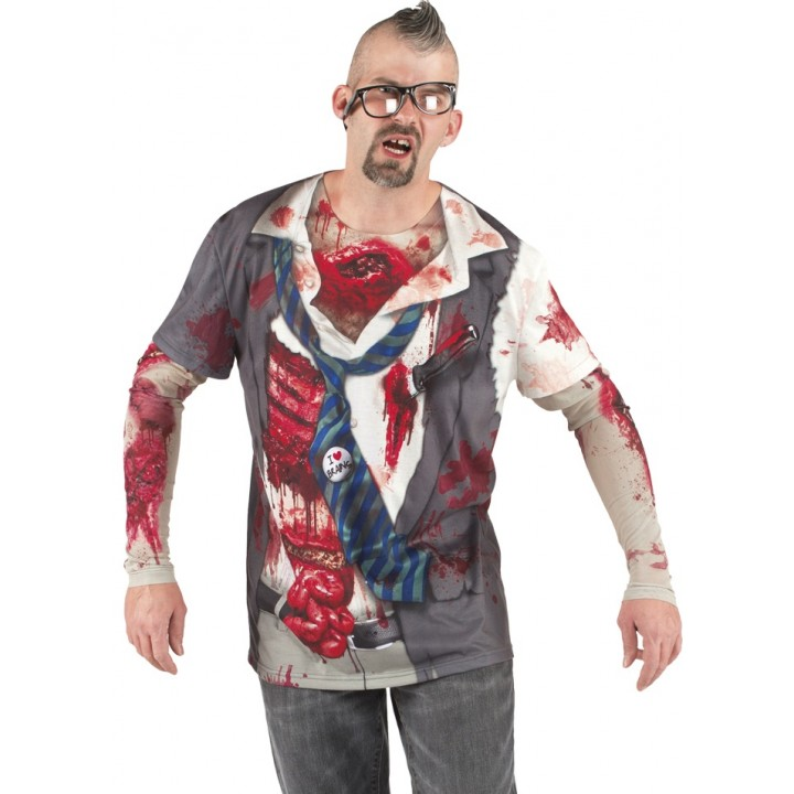 T-shirt photoréaliste zombie homme Halloween