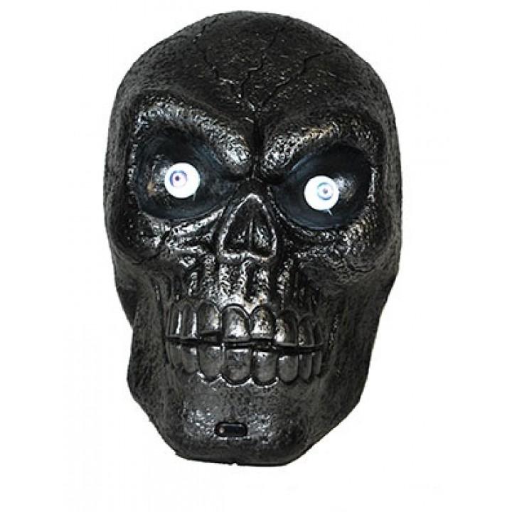 Tête de squelette lumineuse + bruit Halloween 30 cm