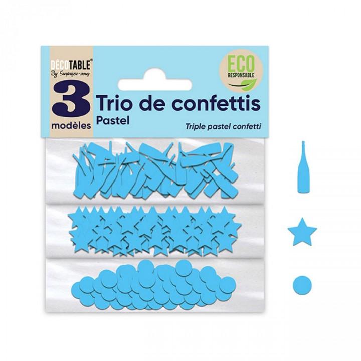 Trio de Confettis bleu océan en sachet- Ronds/Etoiles/Coupes
