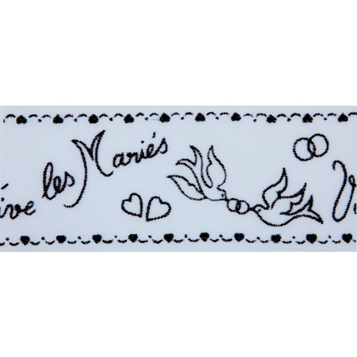 Tulle blanc Vive les Mariés floqué noir 10 cm x 40 m