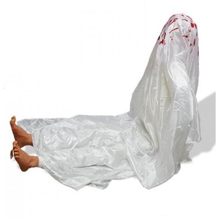 Zombie assise avec drap blanc articulée + bruit Halloween
