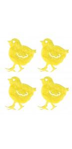 .Lot de 12 poussins feutrine jaune 3,5 cm