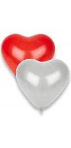 Lot de 8 ballons de baudruche blanc rouge 33 cm