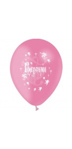 Lot de 10 ballons de baudruche en latex Baptême rose 30 cm