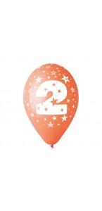 Lot de 10 ballons de baudruche en latex chiffre 2 multicolore 30 cm