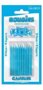 10 bougies anniversaire pailletées avec support bleues