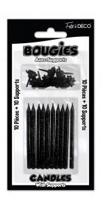 10 bougies anniversaire pailletées avec support noir
