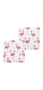 Lot de 12 serviettes Flamant rose en papier 33 x 33 cm