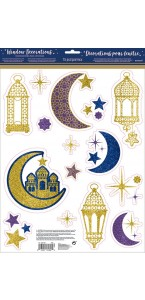 Lot de 15 Décorations de fenêtre Eid Mubarak