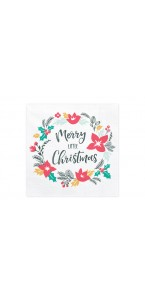 Lot de 20 Serviettes Merry Christmas en papier