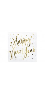 Lot de 20 serviettes en papier blanches Happy New Year or 33 x 33 cm