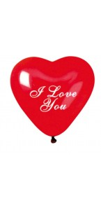 Lot de 4 ballons de baudruche Cœur I Love you en latex Rouge 25 cm
