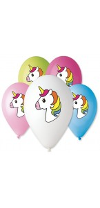 Lot de 5 ballons Licorne multicolore en latex 30 cm