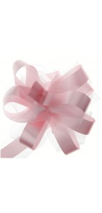 5 nœuds à tirer tulle pompon rose