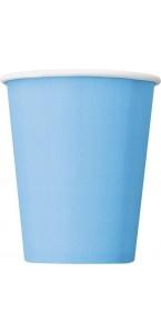 Lot de 50 gobelets jetables en carton bleu clair 20 cl