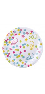 Lot de 6 assiettes anniversaire multicolore