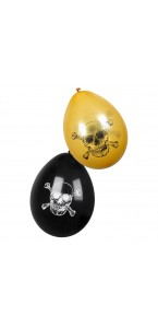 Lot de 6 ballons anniversaire pirate latex 25 cm