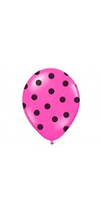 Lot de 6 ballons latex fuschia pois noirs 27/ 30 cm
