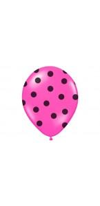 Lot de 6 ballons latex fuschia pois noirs 27/ 30 cm