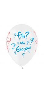 Lot de 6 ballons latex gender reveal rose et bleu 30 cm