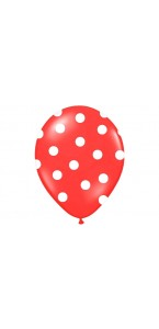 Lot de 6 ballons latex rouges à pois blanc 27/ 30 cm