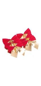 Lot de 6 Nœuds de Noël adhésifs  velours rouge et or 7 cm