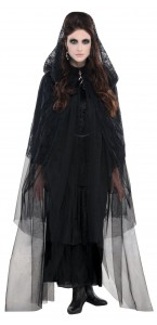 Cape dentelle noire Halloween taille unique